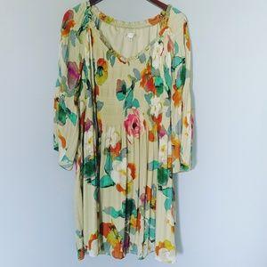 Spense Woman Plus Sage Green Floral Peasant Dress